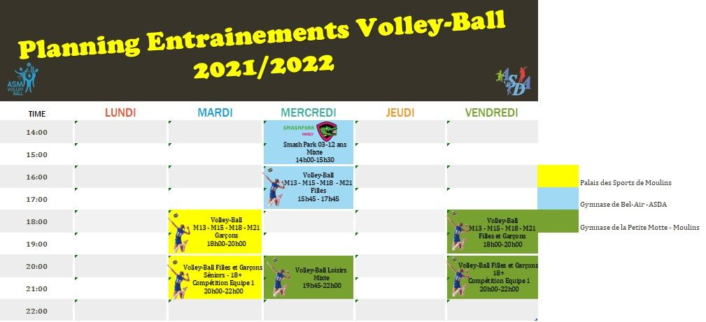 Planning entrainements volley ball 2021 22